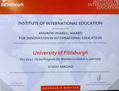 IIE Heiskell Award, Honorable Mention, 2013